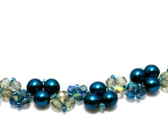 Blue Pearl and Crystal and Glass Beadwoven Necklace