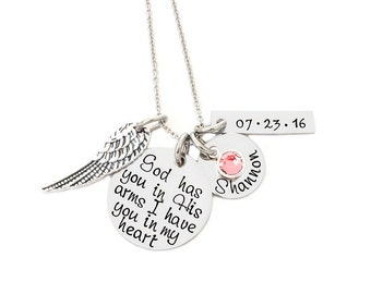 God has you in His arms I have you in my heart - Personalized Hand Stamped Necklace - Angel Wing - Memorial Necklace - Loss Jewelry