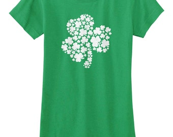 Patterned Shamrock Girls' Youth Fitted T-shirt