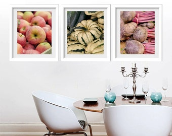 Kitchen prints vertical art, farmers market fruit & vegetable prints, food photography, kitchen pictures set of 3 photos, kitchen wall decor
