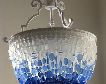 Sea Glass Chandelier Lighting FLUSH MOUNT Ceiling light Fixture Coastal Decor Beach Glass Lighting sea glass light fixtures beach house