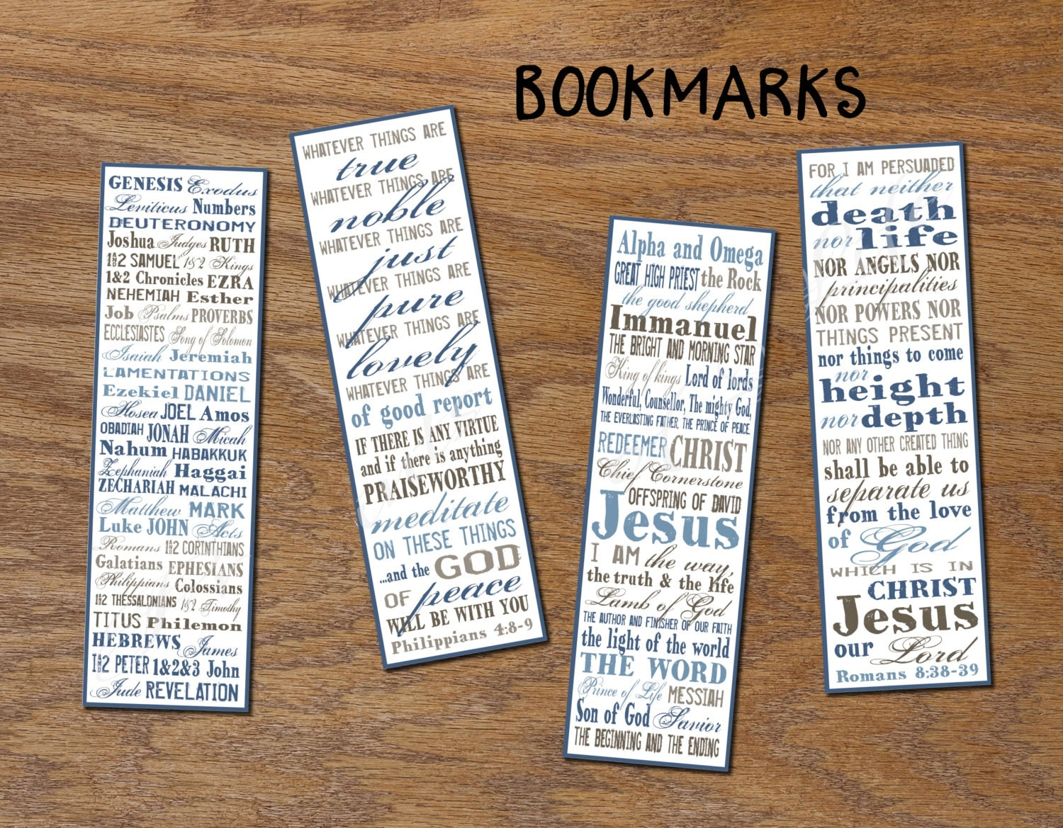 Religious bookmarks to color - Christian Bookmarks Instant Download Diy Printable Book Marks Books Of Bible Digital Book Lover Gift Names Of Jesus Romans 8 38 39