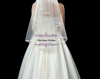 Fingertips 2 Tiers Tailor Custom Handmade Wedding Bridal Satin Edge Veil