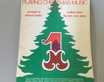 CHRISTMAS SHEET MUSIC,Beginner Piano Sheet music,traditional Christmas songs,vintage paper ephemera,collectible piano music,gift for pianist
