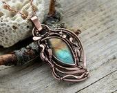 Labradorite pendant  Wirewrap necklace Wirewrapped jewelry handmade necklace Copper necklace Gemstones pendant natural Labradorite
