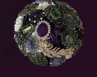 Mardi Gras Brooch Bouquet, Mardi Gras Bouquet, Purple & Green Bouquet, Wedding Bouquet, Bridal Bouquet, Deposit, Full Price 325-550.00