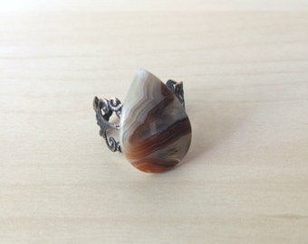 Crazy Lace Agate Ring Brown Agate Adjustable Statement Ring Brown Crazy Lace Ring Gemstone Statement Ring Crazy Lace Agate Gemstone Ring R24