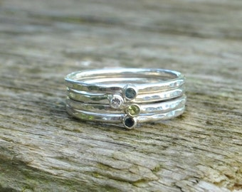 Hammered Birthstone Ring Sterling Silver stackable stacking mothers family jewellery jewelry little tiny small Handmade UK Gemstone Solitare