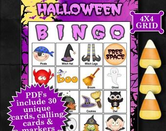 Halloween - Purple 4x4 Bingo printable PDFs contain everything you need to play Bingo.