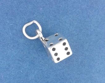 DICE Charm, .925 Sterling Silver, Gambling Charm