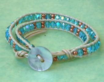 Beaded bracelet, double wrap bracelet, woven, stackable, boho, artisan, chic