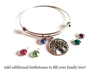 Personalized Family Tree Bangle; Tree of Life Bracelet, Crystal Birthstone & Stamped Initial, Gift for Mom, Mothers Day Bracelet, Gift Idea