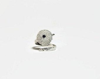 Blue Sapphire ring sterling silver sunflower ring September Birthstone ring Botanical jewelry gift for her