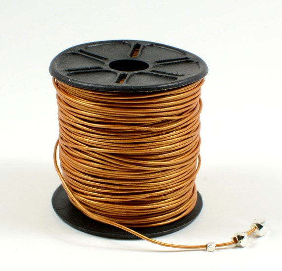 0.5mm leather cord in metallic light brown, fine genuine leather cord - 1 yard/order