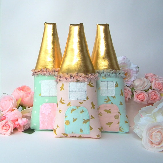 Tooth fairy pillow pink mint plush house with gold roof Fairy