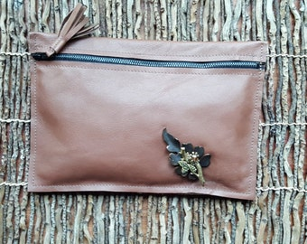 Soft Leather Clutch / Leather Purse / Leather Overflow Wallet / Leather Pouch w/ Embellished Brooch