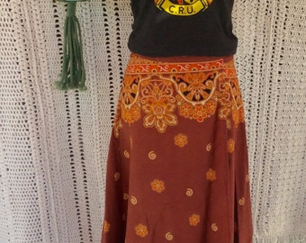 Boho maxi wrap skirt made in india, cut on the bias, 1970's vintage