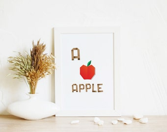 Digital Art Apple | Alphabet art, ABC print, Print wall art, Digital Print, Kids art, Apple art, Nursery art, Kids room art, Printable gift