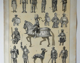 1900 Antique fine lithograph of MEDIEVAL ARMOR. Weapon History. 115 years old nice print.