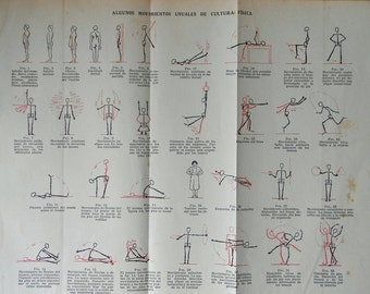 1935 Vintage physical culture exercises... Authentic & rare antique 80 years old nice print!
