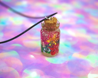 Magic Bottle Necklace, Lucky Charm, Bottle Keychain Lucky Bottle Choker, Pastel Goth Clothing, Kawaii Resin Necklace Vintage Loser Aesthetic