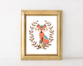 Tribal Fox Nursery Printable Art Print 5x7 8x10 11x14 Sage Green, Teal, Woodland Nursery Decor, Tribal Nursery Art, Digital Download