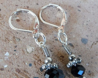 Black Austrian Crystal Earrings, Silver Leaver Back Crystal Earrings, Hypoallergenic Earrings, Nickel Free Jewelry, Gift for Her, Gift Idea