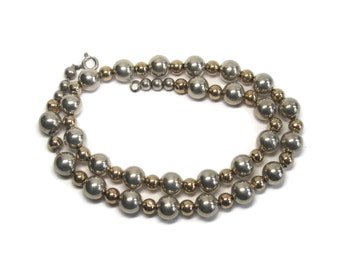 Vintage 14K Sterling Bead Necklace 17.5 Inches