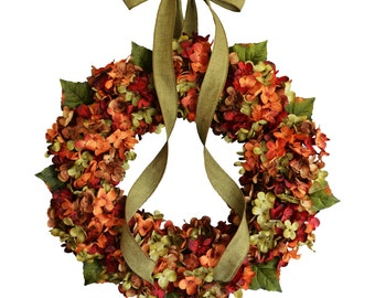 Blended Hydrangea Wreath | Fall Wreaths | Fall Decor | Front Door Wreaths | Outdoor Wreaths | Hydrangea Wreaths