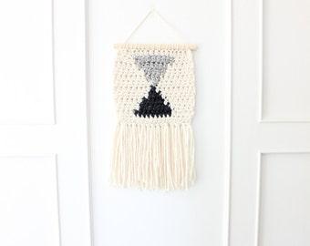 Triangle Crocheted Wall Hanging, Modern Wall Weave, Nursery Art, Nursery Decor, Bohemian