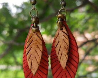 Red leaf earrings