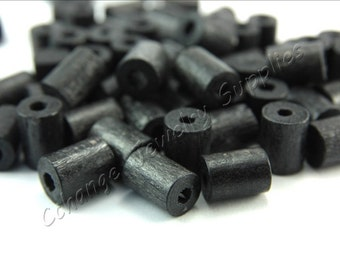 Wood Beads, 50 pcs Wooden Beads, (10mm x 8mm) Black Tube Wood Bead, Cylinder Natural Wood Beads, Craft Wood Beads, Wooden Beads
