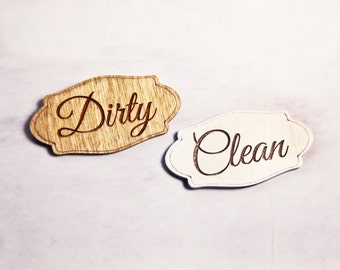 Personalized Dishwasher Magnets Laundry Magnets Dirty and Clean ~ Kitchen, housewares, maid, cleaning, dishes, housewarming, household, home