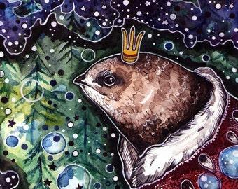 Bird Decor Print Space Watercolor Bird Print Nursery Portrait Bird Print Cute Decor Bird Wall Art Animal Print