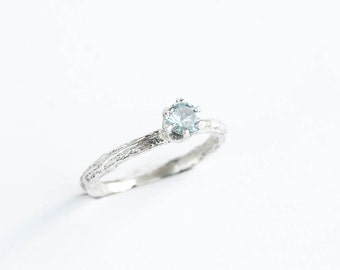 Aquamarine sterling silver twig ring, twig silver ring, sterling silver engagement ring