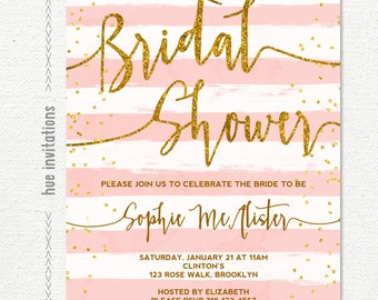 bridal shower invitation, gold glitter blush pink white stripes bridal shower brunch invitation, customized printable digital invitatio
