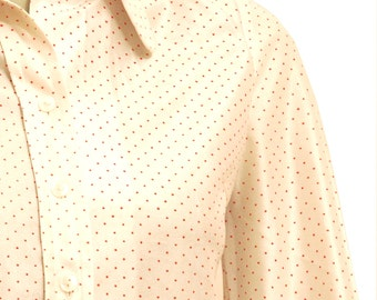 Long Sleeve Glossy White Polka Dot Blouse, Vintage Red Dot Shirt, White Shirt With Pointy Collar