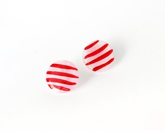 Red Stripe Earrings, Red White Stripped Navy Stud Earrings, Hand Painted Earrings, Red Studs, Resin Post Earrings, Nautical Jewelry