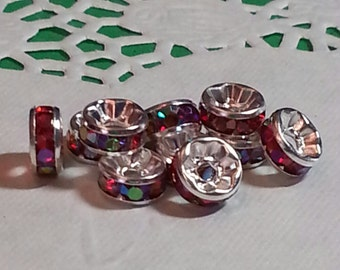 Crystal Disc Spacer Beads, Silver Plated - Red AB - 10 pieces - 8mm