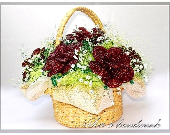 French Beaded artificial flowers (roses) in basket (9.5x8.7 inch) for wedding bouquet or unusual gift