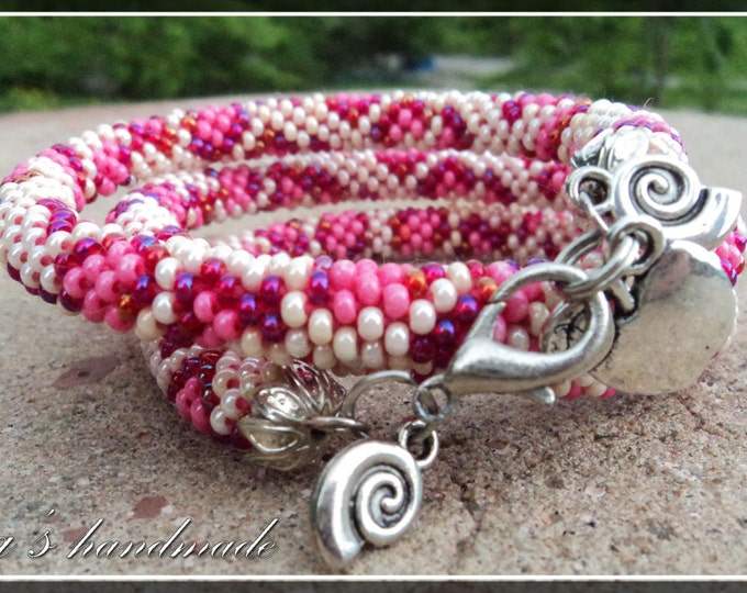 Women pink bright crochet beaded bracelet-lariat 55cm Jewelry gift Idea