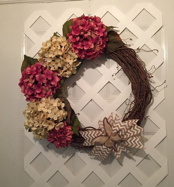 Hydrangea Wreaths - Pink and Cream Wreath - Summer Hydrangea Wreath - Hydrangea Door Wreath - Pink Hydrangeas - Christmas In July - Flowers