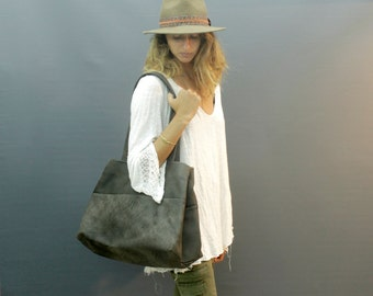 Sale!!! Grey Leather Tote, Leather bag, Grey Leather Tote bag, Handmade leather Tote bag, Distressed bag, Large Tote