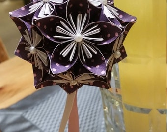 Purple with Pink Polka Dots Solid Pattern Kusudama - Paper Flower Ball Ornament
