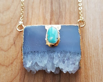 Natural Amethyst Slice Pendant & Natural Turquoise Stone Pendant 14K Gold Filled Chain / Gold Edged / Turquoise Pendant / Amethyst Slice