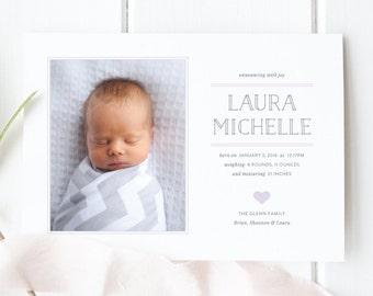 Baby Girl Modern Birth Announcement | Photo Birth Announcement Card