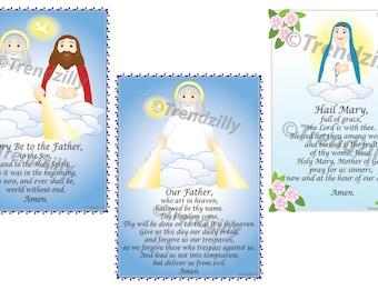 Soft Saint Prayer Card Set 1, Kids Prayer Cards, Prayer Holy Cards, Prayer Teaching Tool, Our Father Prayer, Printable Download.