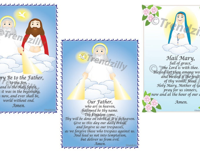 Soft Saint Prayer Card Set 1, Kids Prayer Cards, Prayer Holy Cards, Prayer Teaching Tool, Our Father Prayer, Printable Download.
