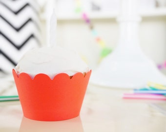 NEON CORAL Cupcake Wrappers - Set of 24