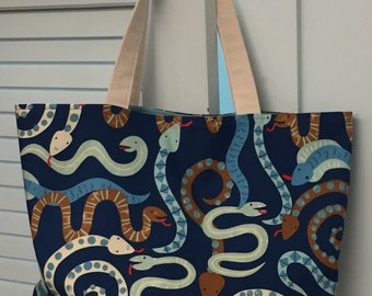 SALE! Snake tote: large lined tote bag
